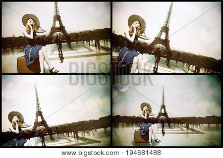 Girl With Suitcase And Parisian Eiffel Tower
