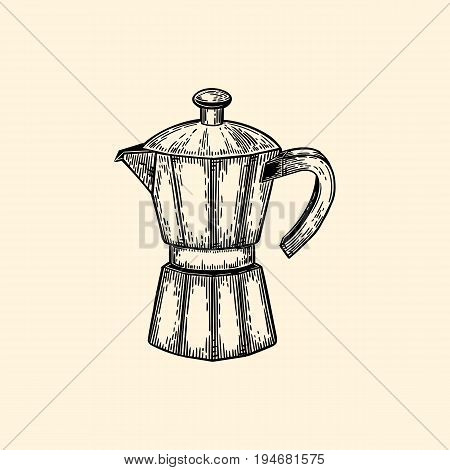 Coffeepot. Vector illustration in sketch style. EPS 10