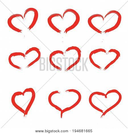Set Of Scribbled Hearts. Vector grunge style icons collection. Vector illustration of the brush hand drawn sketchy hearts on white background.
