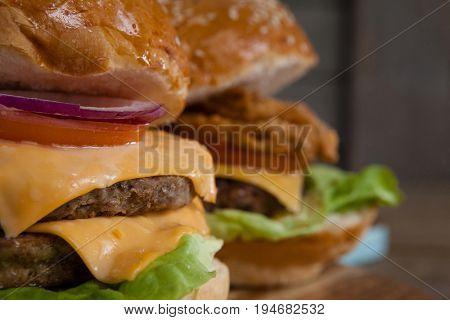 Close-up of delicious hamburgers