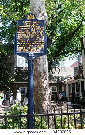 PHILADELPHIA, PA - MAY 14: View of Historic sign in front of the Betsy Ross House at 239 Arch Street on May 14, 2015