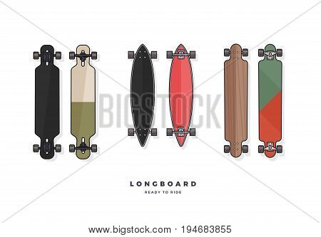 Set of longboards various shaped isolated on white background. Vector illustration.