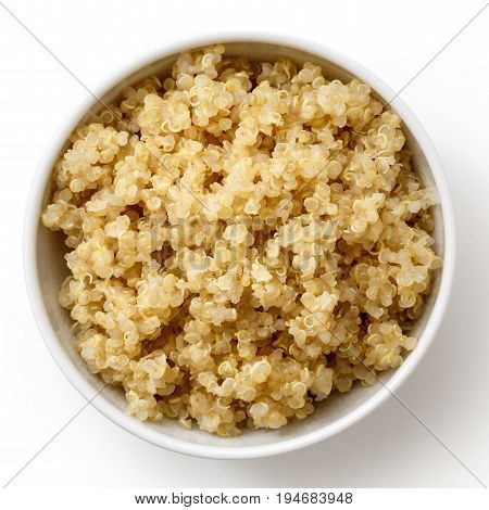 Cooked Quinoa In White Ceramic Bowl Isolated On White From Above.