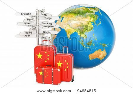 China travel concept. Suitcases with Chinese flag signpost and Earth globe. 3D rendering