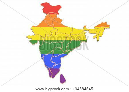 India map with LGBT flag 3D rendering