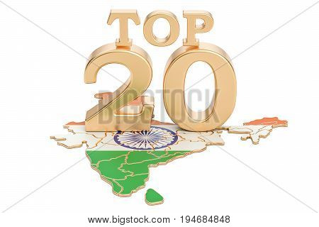 Indian Top 20 concept 3D rendering isolated on white background