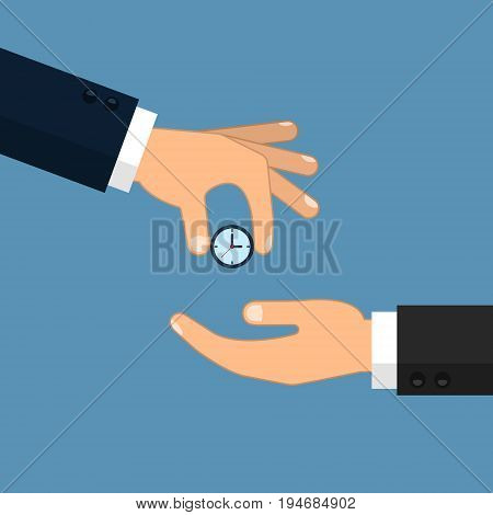 Hand giving the clock illustration. Vector isolated time economy concept.
