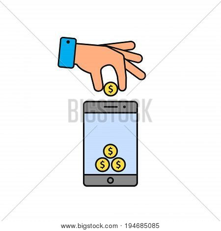 Hand put coin in phone icon. Billing funding your account phone color icon. Vector illustration.