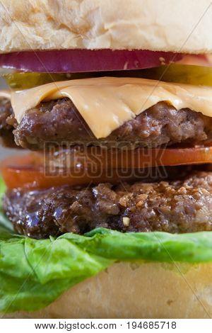 Close-up of delicious hamburger