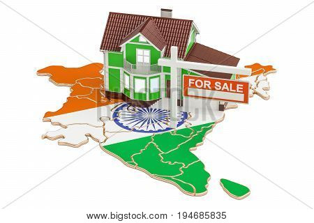 Property for sale and rent in India concept. Real Estate Sign 3D rendering isolated on white background