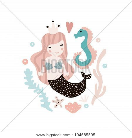 Cute illustration with mermaid and seahorse. Childish print with marine elements. Perfect for poster cardkids apparelbags. Vector Illustration