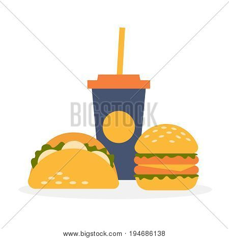 Fast food. Set of street food: a glass of drink, tortilla tacos, burger. Vector illustration in flat style.