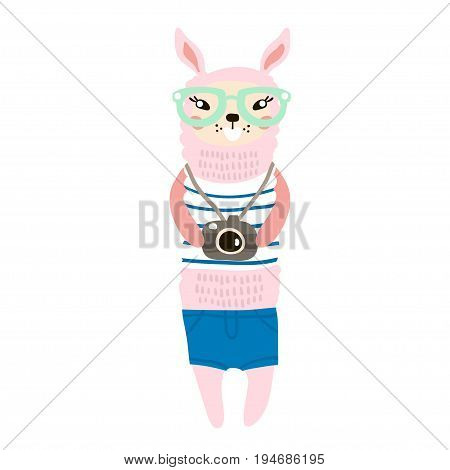Cute llama tourist hand drawn vector illustration. Cartoon dressed llama with camera character isolated. Can be used for baby fashion print design kids wear poster greeting and invitation card.