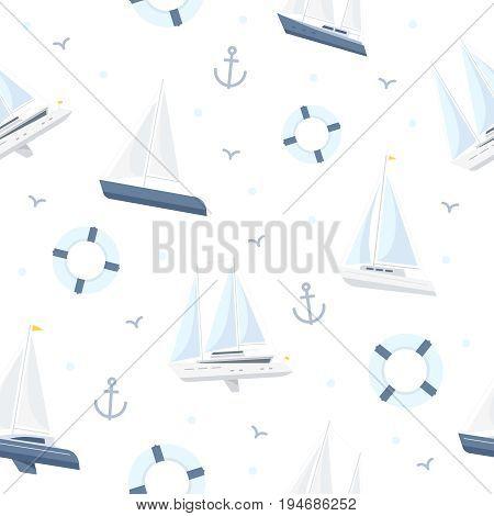 Pattern on marine theme on white background. Image of sailboat, lifebuoy, anchors.