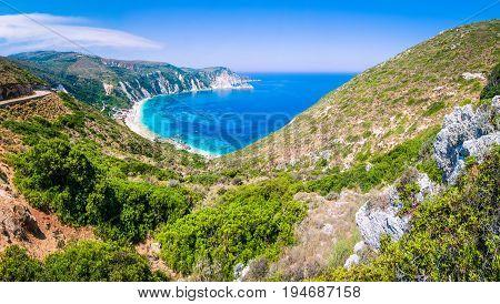 Valley goes to beautiful Myrtos Beach on Kefalonia Island, Greece.