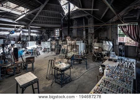 BARCELONA, SPAIN - MAY 2017: Interior of  traditional small glass manufacture in Spanish village (Poble Espanyol)