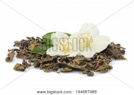 Green tea with Jasmine flowers isolated on white background.