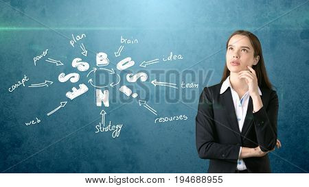 Businesswoman In A Suit Crossed Hands And Standing Near Illustration With A Business Idea Sketch . C