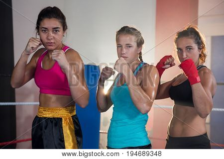 Portrait of confident female boxers standing in fighting stance at fitness studio