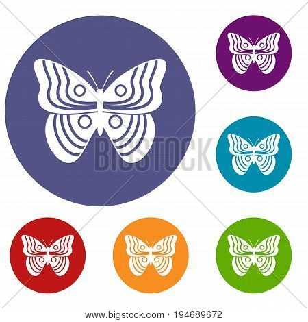 Stripped butterfly icons set in flat circle reb, blue and green color for web