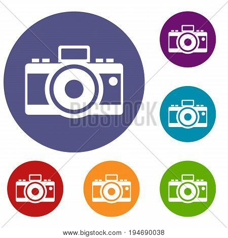 Photocamera icons set in flat circle reb, blue and green color for web
