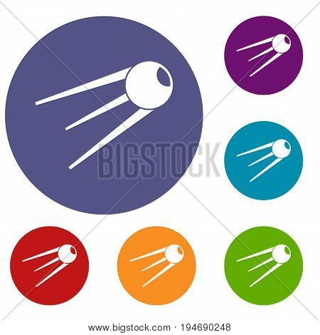 Sputnik icons set in flat circle reb, blue and green color for web
