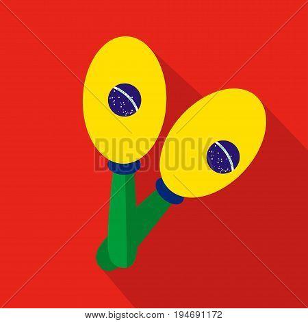 Maracas cartoon flat icon. Brazil. Vector illustration.design element