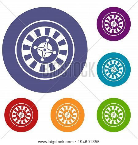 Casino gambling roulette icons set in flat circle reb, blue and green color for web
