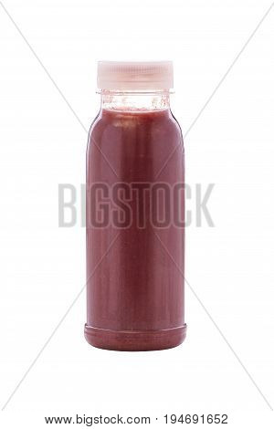 Fresh blueberry smoothie with blended or liquidised raw fruit isolated on white for a healthy beverage and diet rich in antioxidants and vitamins