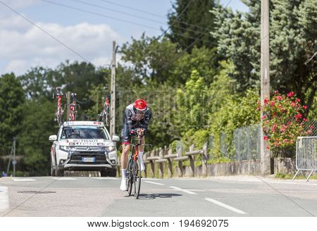 Bourgoin-Jallieu France - 07 May 2017: The Norwegian cyclist Vegard Stake Laengen of UAE Team Emirates Team riding during the time trial stage 4 of Criterium du Dauphine 2017.