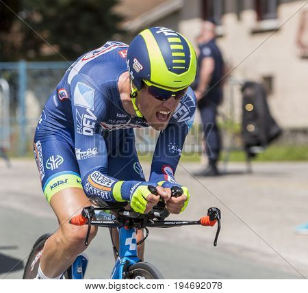 Bourgoin-Jallieu France - 07 May 2017: Portrait of the Belgian cyclist Thomas Degand of Wanty-Groupe Gobert Team riding during the time trial stage 4 of Criterium du Dauphine 2017.