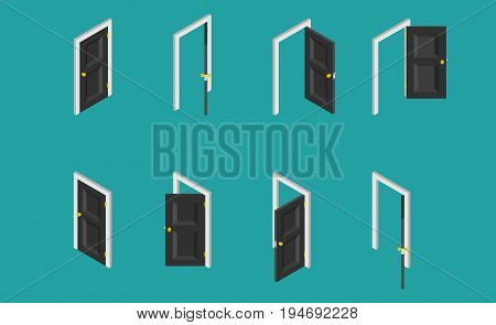Black isometric door. Set of the opened and closed doors. Vector illustration
