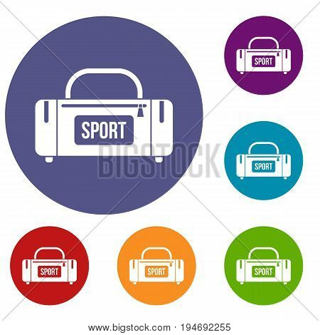 Large sports bag icons set in flat circle reb, blue and green color for web