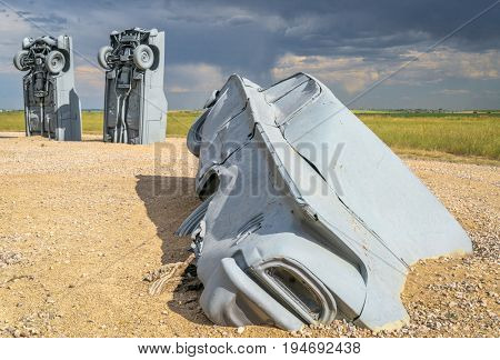 ALLIANCE, NE, USA - July 9, 2017:  Carhenge - famous car sculpture  created by Jim Reinders, a modern replica of  England's Stonehenge using old cars.