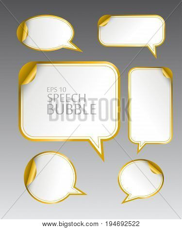 Vector illustration set. Template of different empty gold speech bubbles with curved corner for dialogue and thought communication. Geometrical design