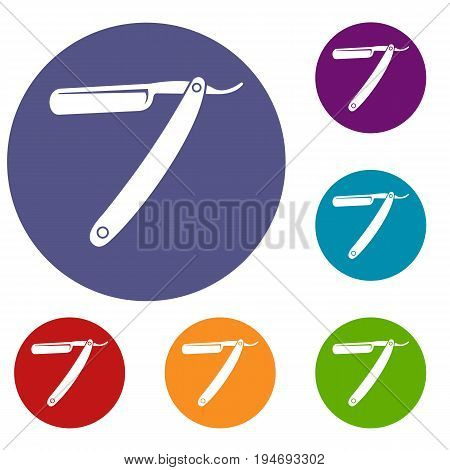 Razor blade icons set in flat circle reb, blue and green color for web