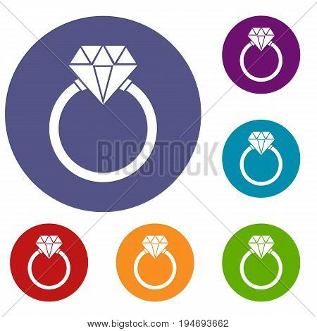 Ring LGBT icons set in flat circle reb, blue and green color for web