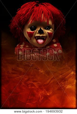 Grunge Halloween background with old stucco wall texture of brown color and face of spooky clown