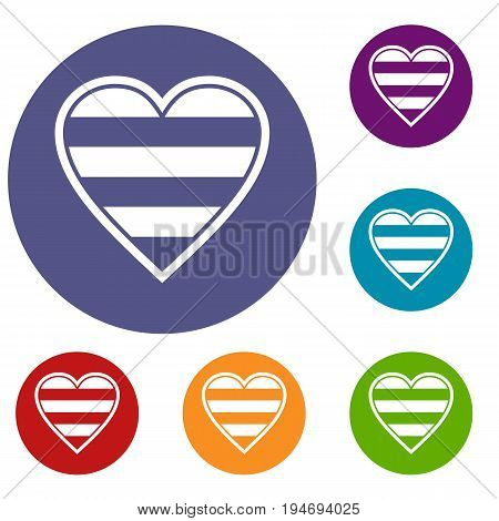 Heart LGBT icons set in flat circle reb, blue and green color for web