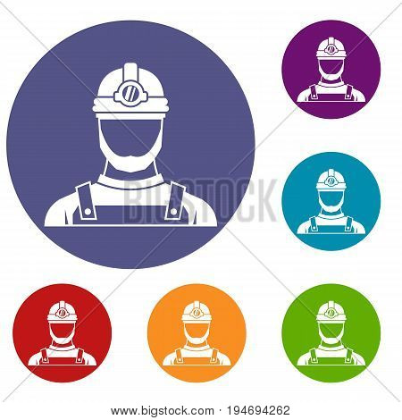 Male miner icons set in flat circle reb, blue and green color for web