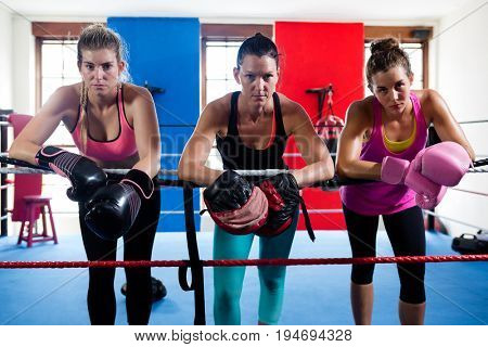 Portrait of young female boxers leaning on boxing ring rope
