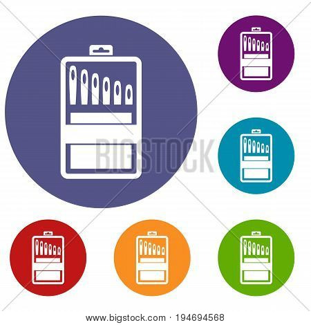 Set of needles icons set in flat circle reb, blue and green color for web