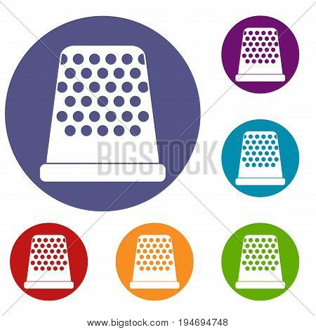 Thimble icons set in flat circle reb, blue and green color for web