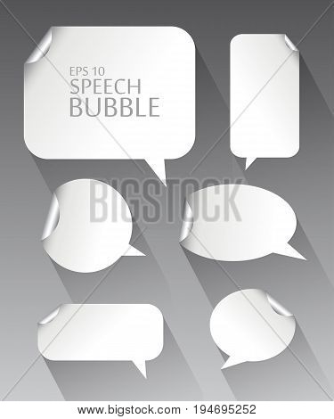 Vector illustration set. Template of different empty white speech bubbles with silver metal curved corner and long shadow. Dialogue and thought communication. Geometrical design