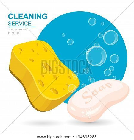 Vector Set of cleaning service elements. Cleaning supplies. Housework tools House cleaning. Soap sponge and soap foam bubbles. Template for banners web sites printed materials infographics