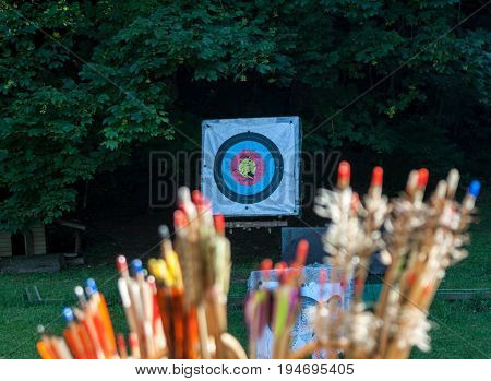colorful archery arrows and sport aim for exercises