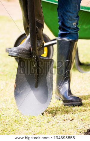 Low section of man in rubber boot with shovel standing at lawn