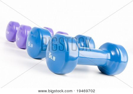 A set of hand weights on a white background