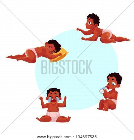 Little black, African American baby kid, infant daily routine - eat, sleep, take bath, cry, crawl, cartoon vector illustration with space for text. Black baby, kid, infant daily activities
