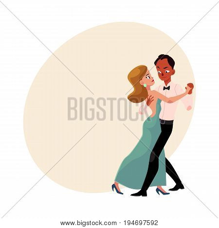Couple of professional ballroom dancers, Caucasian woman, black man, looking at each other, cartoon vector illustration with space for text. Ballroom dance couple dancing waltz, salsa, rumba